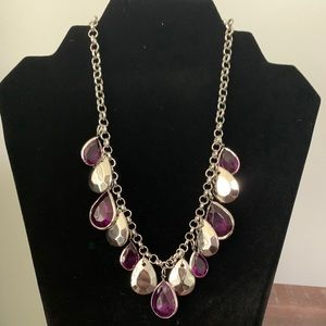 Teardrop stone statement necklace